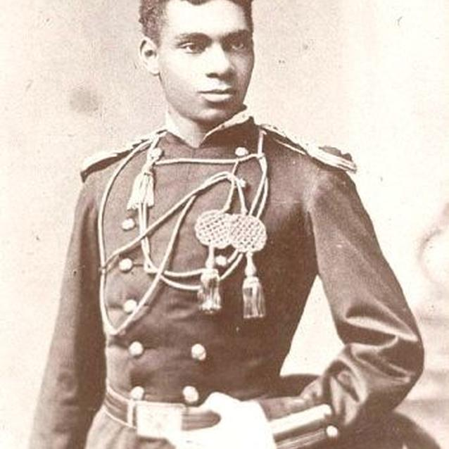 Photo of 2nd Lieutenant Flipper in full dress uniform of the United States Cavalry.