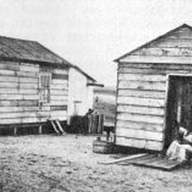 Photo of two buildings from the Freedmen's Village on Hilton Head Island