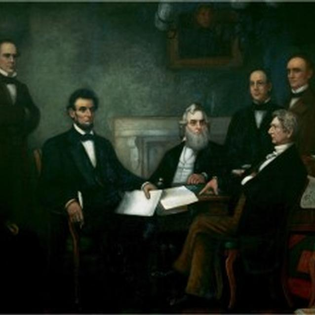 Abraham Lincoln reads the Emancipation Proclamation to his Cabinet