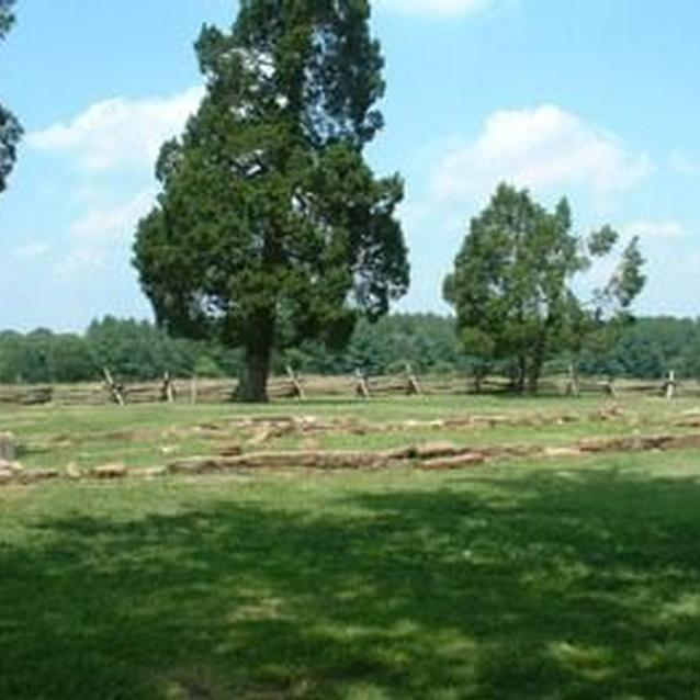Photo of the foundations of the Robinson House at Manassas National Battlefield Park