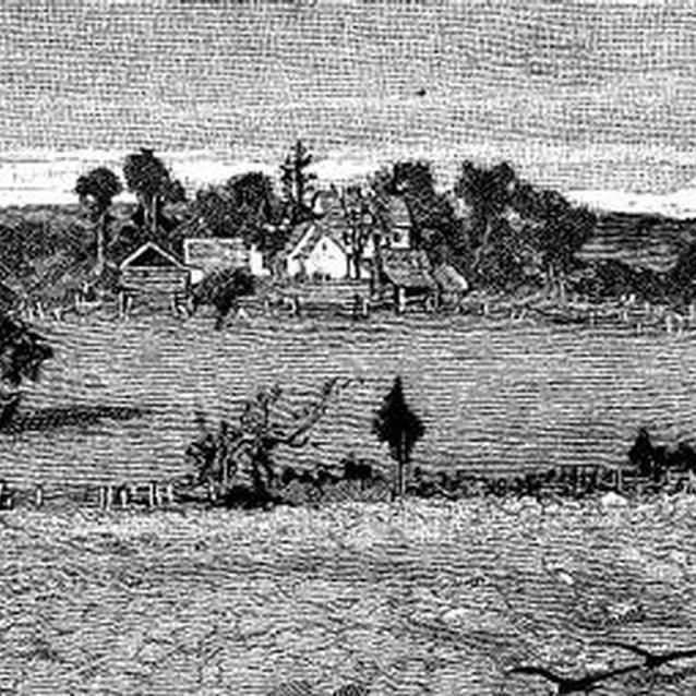 Engraving showing post-war view of the Robinson House