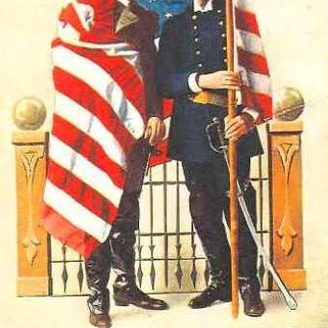 A turn-of-the-century Decoration Day postcard showing Union and Confederate veteran draped by and American flag
