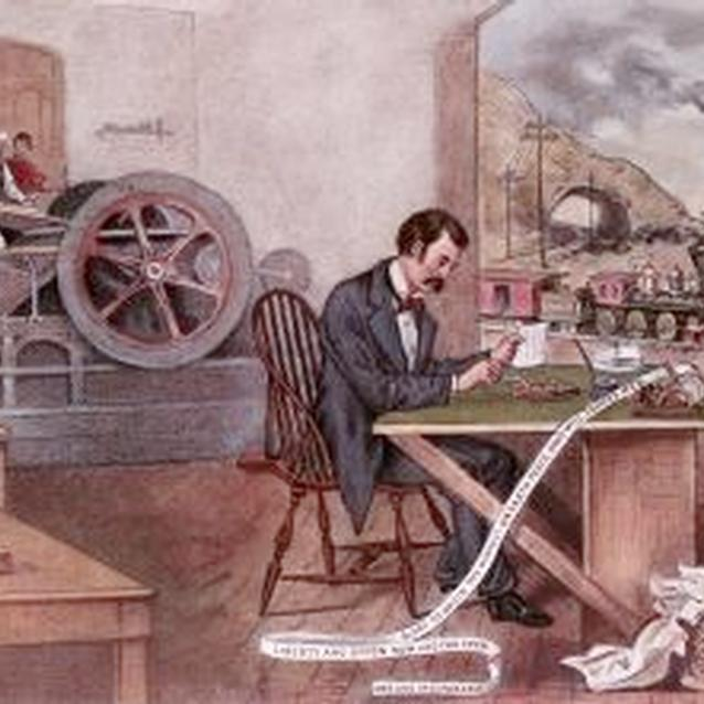 Lithograph showing industrial and technological advancements of the Civil War