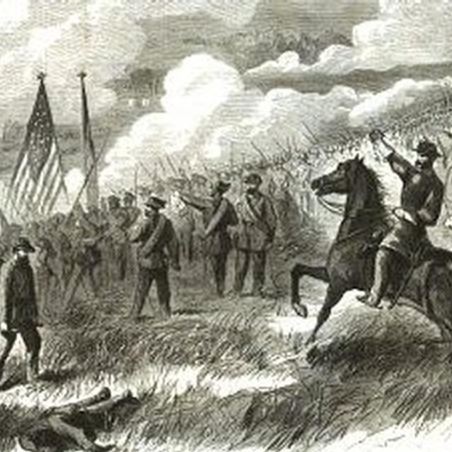 major sullivan ballou engraving of ambrose burnside leading troops into battle at first manassas