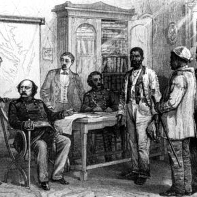 Engraving of Benjamin Butler meeting with escaped slaves at Fort Monroe