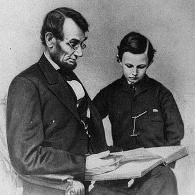 Image of President Lincoln with his son, Tad Lincoln