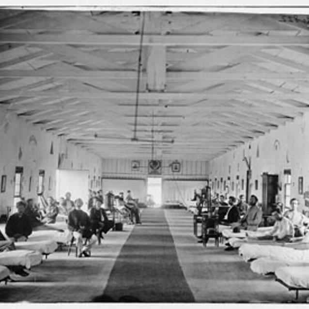 Photograph of a hospital room during the Civil War