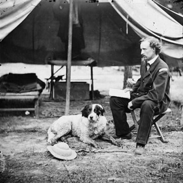 Photograph of Lt. George A. Custer with his dog