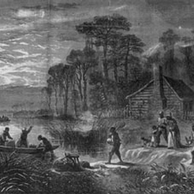 Print of an illustration of slaves running away from a plantation