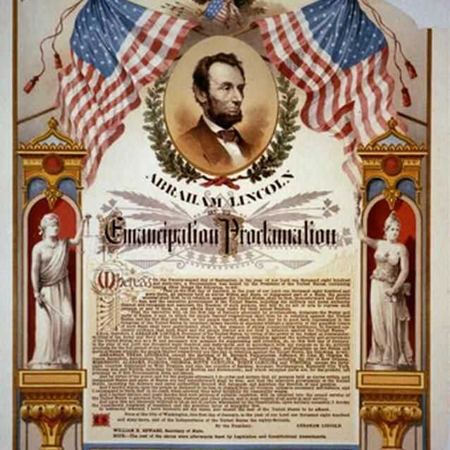Ornate copy of the Emancipation Proclamation