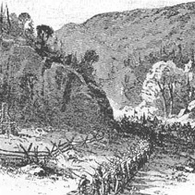 Sketch of Confederates marching through Thoroughfare Gap in 1862