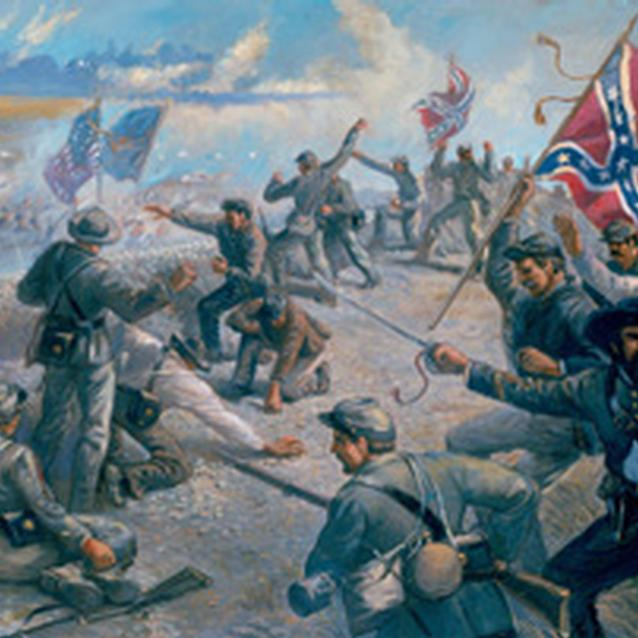 "Painting of the Union attack at ""Deep Cut"""