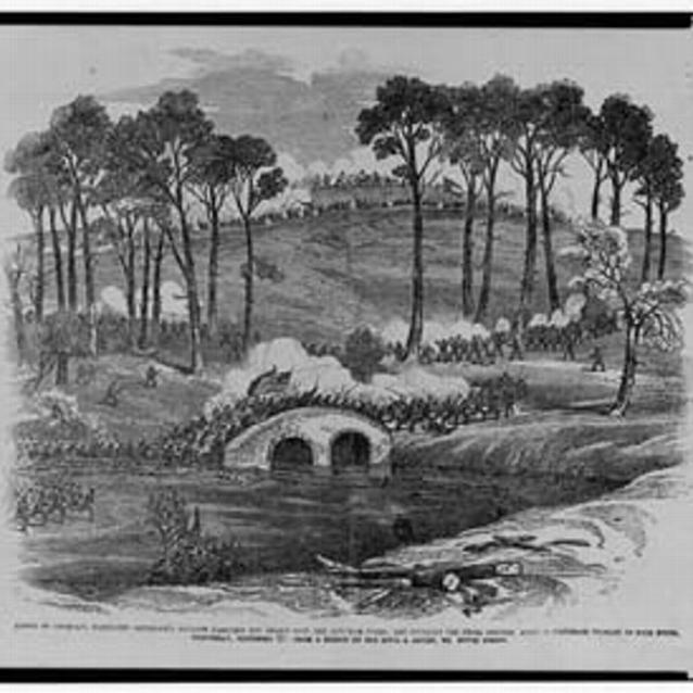 Sketch of Burnside's division going over the bridge at the Battle fo Antietam