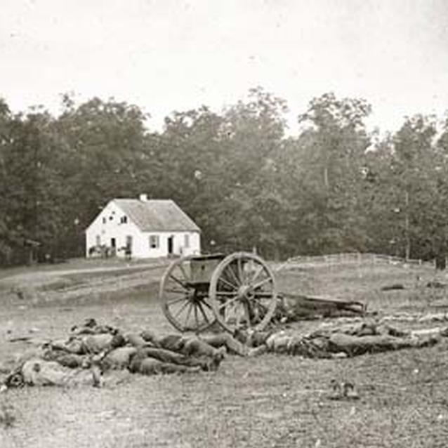 Photograph of the dead in front of Dunker Church at Antietam