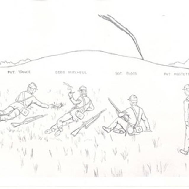Sketch of Mitchell and others from Company F found the orders and later fought at the Battle of Antietam.