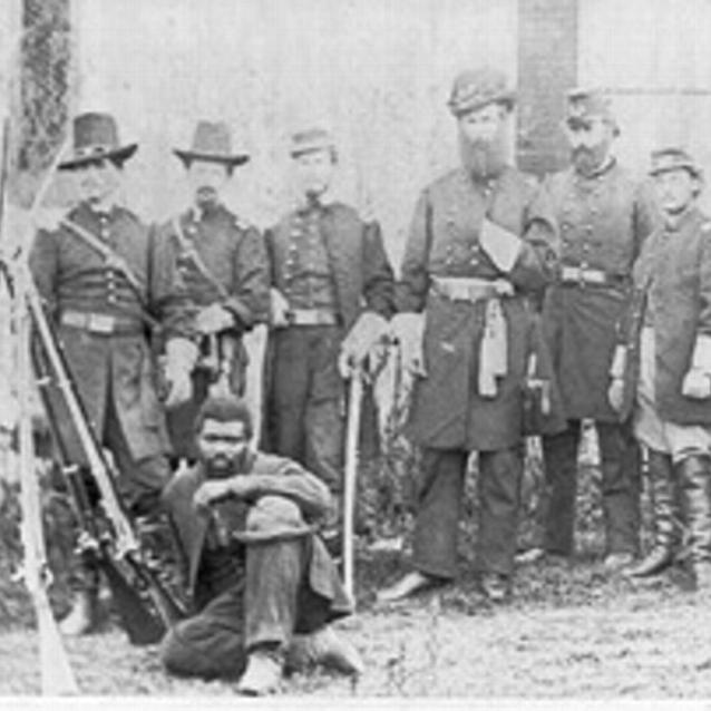 Photograph of General John W. Geary and his staff, who were taken at Harper's Ferry
