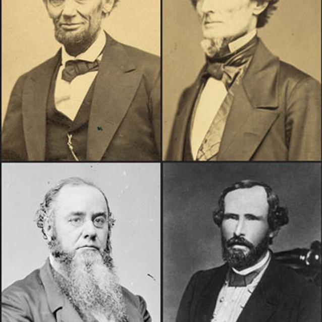 Collection of photographs of Abraham Lincoln, Jefferson Davis, Edwin Stanton, George W. Randolph