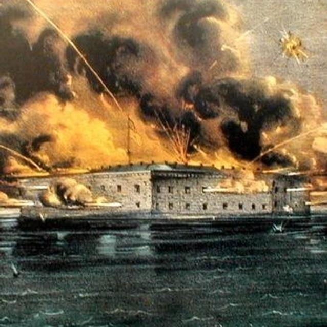 Engraving of the bombardment of Fort Sumter