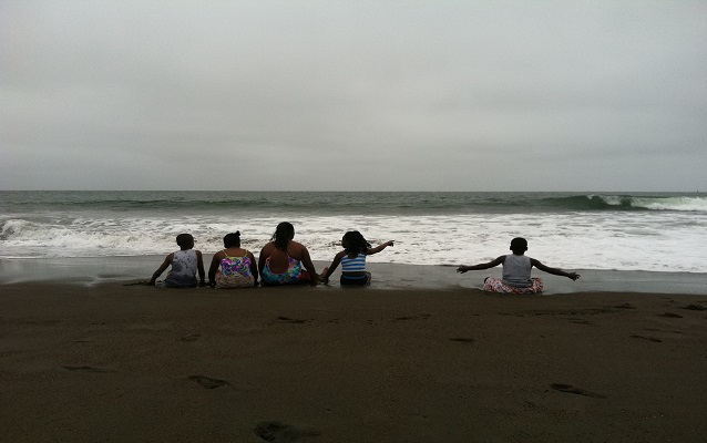 A group of Home Away program participants enjoying nearby Rodeo Beach.