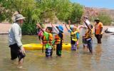 YMCA summer campers from North Las Vegas prepare to go kayaking on the Black Canyon Water Trail at Lake Mead National Recreation Area