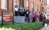 Lowell High School Choir outside Lowell National Historical Park Headquarters