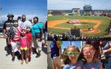 Three photos show a family and two girls smiles wearing novelty sunglasses, and an american flag is displayed on a baseball field.