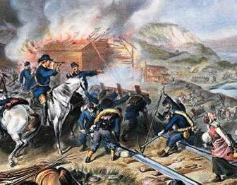 Painting of Gen. Sherman overseeing his troops tear up railroad tracks while a nearby building burns