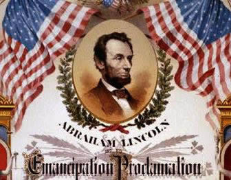 Ornate lithograph with picture of Lincoln, U.S. flags and the text of the Emancipation Proclamation