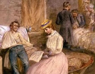 Painting of a woman reading to a wounded soldier in the hospital