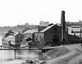 Wartime photograph of Tredegar Ironworks in Richmond, Va.