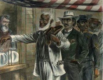 Color engraving of elderly African American man casting a ballot in an election