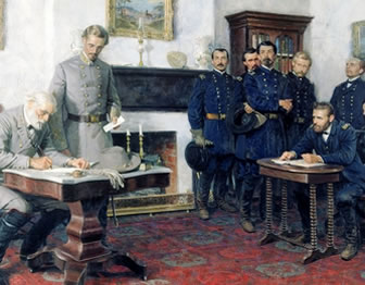 Modern painting of Robert E. Lee signing surrender at Appomattox while Ulysses S. Grant watches