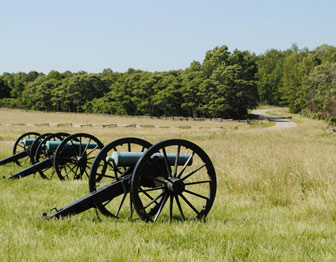 Three cannons line up in a field of tall grass.  A road winds through the trees and fences beyond.