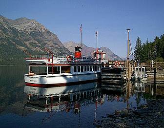 The International, a concession operated tour boat, docked at Glacier National Park