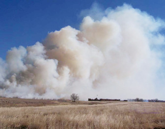 Prescribed grassland fire at Bent's Old Fort National Historic Site