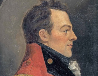 A profile painting of General Isaac Brock, in a red coat and gold epaulets.