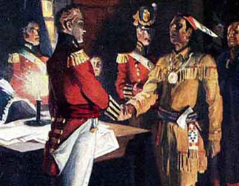 A British officer shakes hands with an American Indian leader.