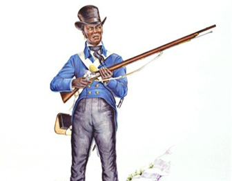 A painting of a black soldier in a top hat and blue coat, holding a musket.