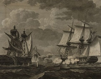 Sailing ships engaged in battle with damage