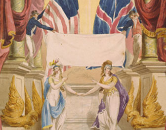 Columbia and Britannia holding hands in front of white flag