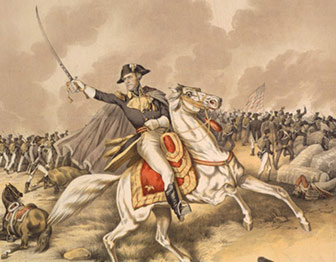 Painting of Andrew Jackson on a horse with saber