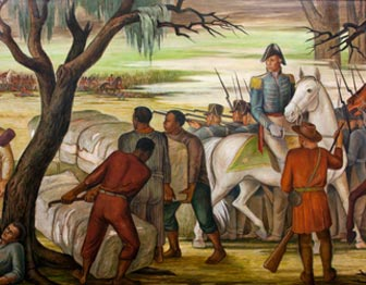 Painting of Battle of New Orleans highlighting people of color