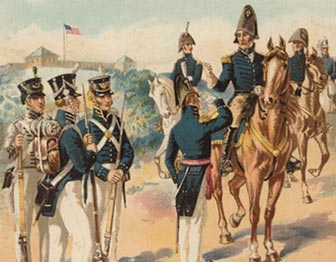 Troops in uniform around an officer on a brown horse