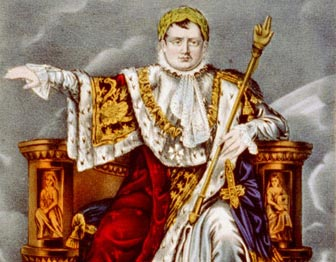 Portrait of Emperor Napoleon in fancy cloak, holding gold staff