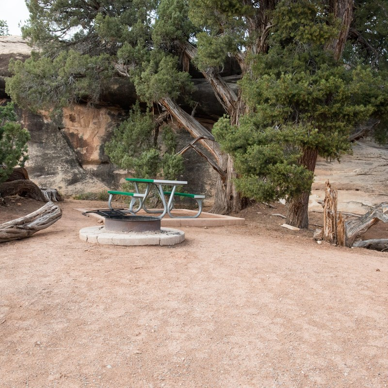 a campsite with a gravel surface, fire ring, and picnic table
