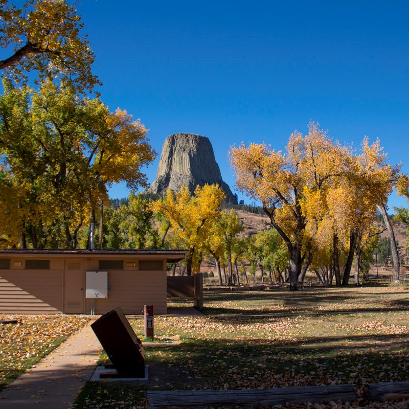Campground with Devils Tower in the background
