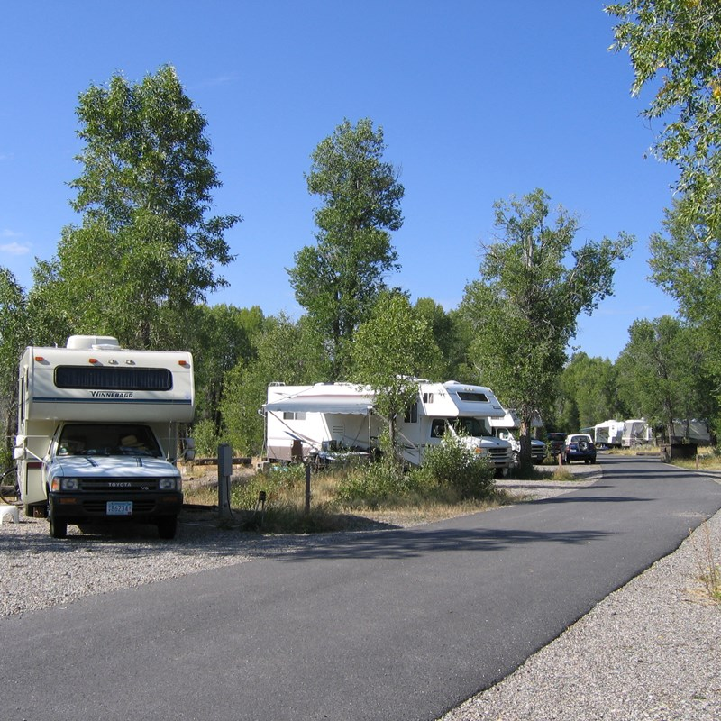 Gros Ventre campsites with RVs and cottonwoods