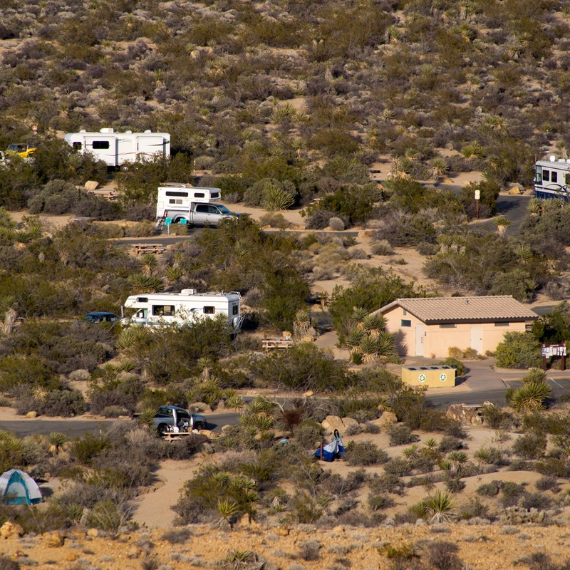 A view looking down onto the Cottonwood Campground showing the bathrooms, tent sites and RV sites.