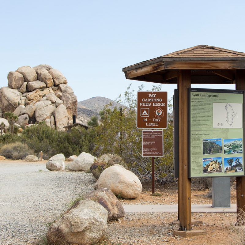 An unpaved road and campground signage is surrounded by vegetation and rock formations.