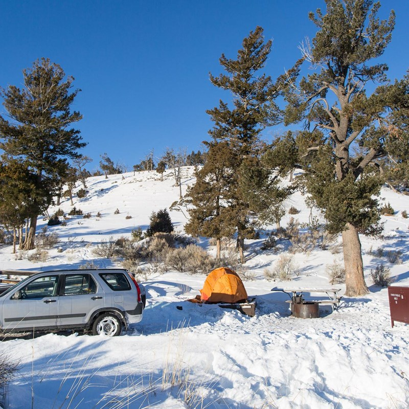 Winter campsite at Mammoth Hto Springs